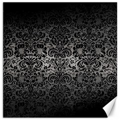 Damask2 Black Marble & Gray Metal 1 (r) Canvas 12  X 12