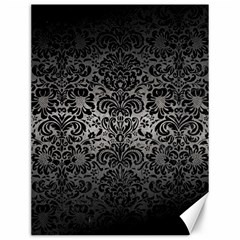 Damask2 Black Marble & Gray Metal 1 (r) Canvas 12  X 16