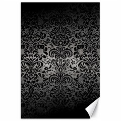 Damask2 Black Marble & Gray Metal 1 (r) Canvas 20  X 30