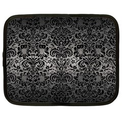 Damask2 Black Marble & Gray Metal 1 (r) Netbook Case (large)