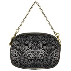 Damask2 Black Marble & Gray Metal 1 (r) Chain Purses (one Side)