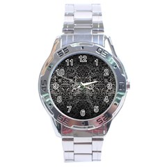 Damask2 Black Marble & Gray Metal 1 (r) Stainless Steel Analogue Watch