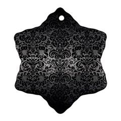 Damask2 Black Marble & Gray Metal 1 (r) Snowflake Ornament (two Sides)