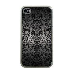 Damask2 Black Marble & Gray Metal 1 (r) Apple Iphone 4 Case (clear)