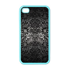 Damask2 Black Marble & Gray Metal 1 (r) Apple Iphone 4 Case (color)