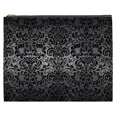 Damask2 Black Marble & Gray Metal 1 (r) Cosmetic Bag (xxxl)