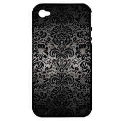 Damask2 Black Marble & Gray Metal 1 (r) Apple Iphone 4/4s Hardshell Case (pc+silicone)