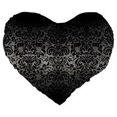 Damask2 Black Marble & Gray Metal 1 (r) Large 19  Premium Heart Shape Cushions