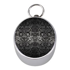 Damask2 Black Marble & Gray Metal 1 (r) Mini Silver Compasses