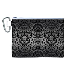 Damask2 Black Marble & Gray Metal 1 (r) Canvas Cosmetic Bag (l)