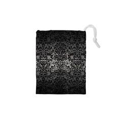 Damask2 Black Marble & Gray Metal 1 (r) Drawstring Pouches (xs)