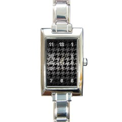 Houndstooth1 Black Marble & Gray Metal 1 Rectangle Italian Charm Watch