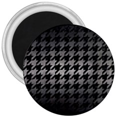 Houndstooth1 Black Marble & Gray Metal 1 3  Magnets