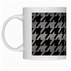 Houndstooth1 Black Marble & Gray Metal 1 White Mugs