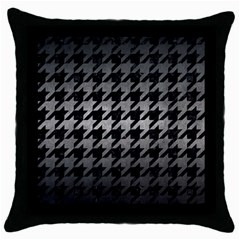 Houndstooth1 Black Marble & Gray Metal 1 Throw Pillow Case (black)