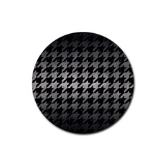 Houndstooth1 Black Marble & Gray Metal 1 Rubber Coaster (round)