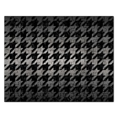 Houndstooth1 Black Marble & Gray Metal 1 Rectangular Jigsaw Puzzl