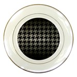 HOUNDSTOOTH1 BLACK MARBLE & GRAY METAL 1 Porcelain Plates Front