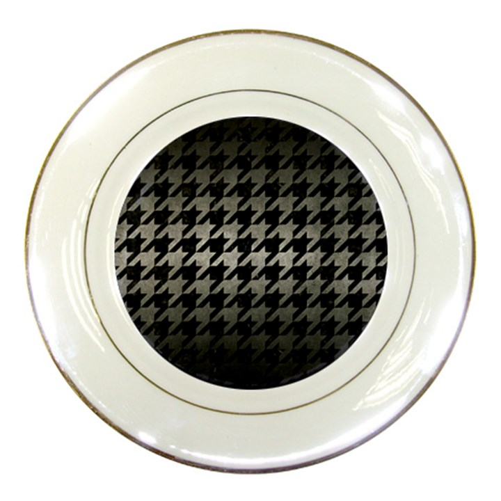 HOUNDSTOOTH1 BLACK MARBLE & GRAY METAL 1 Porcelain Plates