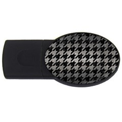 Houndstooth1 Black Marble & Gray Metal 1 Usb Flash Drive Oval (4 Gb)