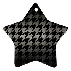 Houndstooth1 Black Marble & Gray Metal 1 Star Ornament (two Sides)