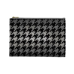 Houndstooth1 Black Marble & Gray Metal 1 Cosmetic Bag (large)