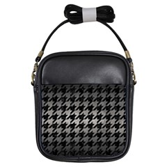 Houndstooth1 Black Marble & Gray Metal 1 Girls Sling Bags