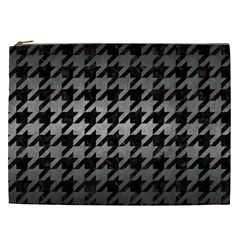 Houndstooth1 Black Marble & Gray Metal 1 Cosmetic Bag (xxl)