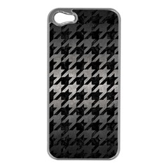 Houndstooth1 Black Marble & Gray Metal 1 Apple Iphone 5 Case (silver)