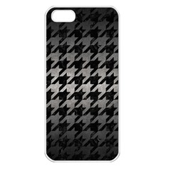 Houndstooth1 Black Marble & Gray Metal 1 Apple Iphone 5 Seamless Case (white)