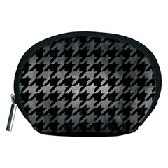 Houndstooth1 Black Marble & Gray Metal 1 Accessory Pouches (medium)