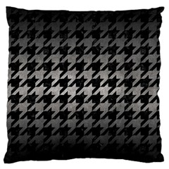 Houndstooth1 Black Marble & Gray Metal 1 Large Flano Cushion Case (one Side)