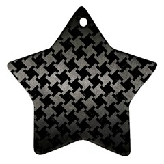 Houndstooth2 Black Marble & Gray Metal 1 Ornament (star)