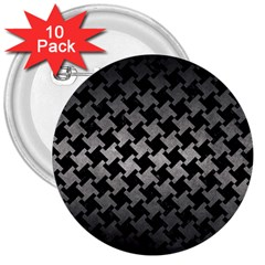 Houndstooth2 Black Marble & Gray Metal 1 3  Buttons (10 Pack)