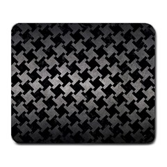 Houndstooth2 Black Marble & Gray Metal 1 Large Mousepads