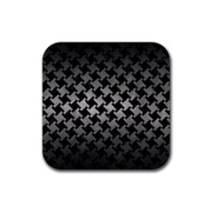 Houndstooth2 Black Marble & Gray Metal 1 Rubber Square Coaster (4 Pack)
