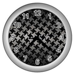 Houndstooth2 Black Marble & Gray Metal 1 Wall Clocks (silver)