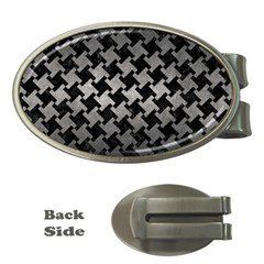 Houndstooth2 Black Marble & Gray Metal 1 Money Clips (oval)