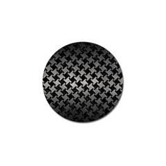 Houndstooth2 Black Marble & Gray Metal 1 Golf Ball Marker (4 Pack)