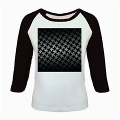 Houndstooth2 Black Marble & Gray Metal 1 Kids Baseball Jerseys