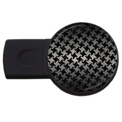 Houndstooth2 Black Marble & Gray Metal 1 Usb Flash Drive Round (4 Gb)