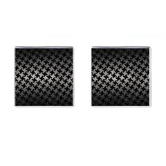 Houndstooth2 Black Marble & Gray Metal 1 Cufflinks (square)