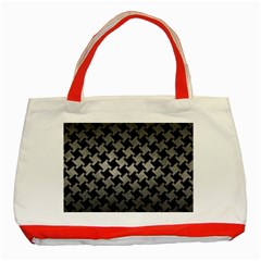 Houndstooth2 Black Marble & Gray Metal 1 Classic Tote Bag (red)