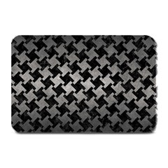 Houndstooth2 Black Marble & Gray Metal 1 Plate Mats