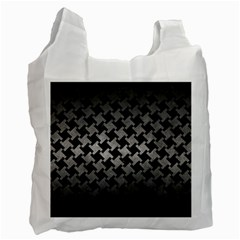 Houndstooth2 Black Marble & Gray Metal 1 Recycle Bag (two Side)
