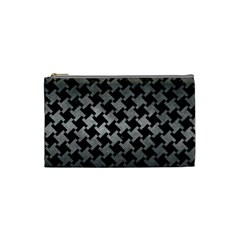 Houndstooth2 Black Marble & Gray Metal 1 Cosmetic Bag (small)