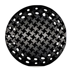 Houndstooth2 Black Marble & Gray Metal 1 Round Filigree Ornament (two Sides)