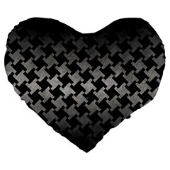 Houndstooth2 Black Marble & Gray Metal 1 Large 19  Premium Heart Shape Cushions