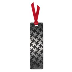 Houndstooth2 Black Marble & Gray Metal 1 Small Book Marks