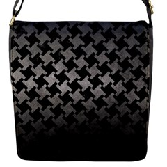 Houndstooth2 Black Marble & Gray Metal 1 Flap Messenger Bag (s)